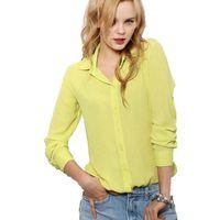 blusas de oficina xxl al por mayor-5 Colores Ropa de Trabajo 2015 Mujeres Camisa de Gasa Blusas Femininas Tops Elegantes Señoras Formales Oficina Blusa Más Tamaño XXL