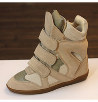 Wholesale Brown Strap Wedges - height Increasing Shoes For Women Genuine Leather Woman Casual Shoe Spring Winter Wedge Shoes Wedge Suede Lady Wedges