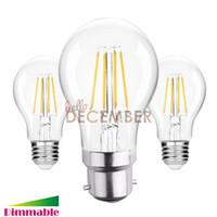 Wholesale E26 Led Bulbs 6w - New Dimmable 4W 6W 8W 10W E26 E27 B22 LED Lamps A60 LED Edison Filament Globe Bulb Lights