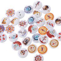 Wholesale Sewing Buttons Kids - Kimter Radom Mixed Helm Round Wooden Sewing Buttons With 2 Holes 15mm For DIY Craft Scrapbooking Kids' Projects Pack Of 200pcs I644L