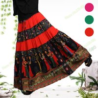 Bohemian High-waist Casual Novello Cartoon Pattern cucitura Splice Femminile Red Green Beach pieghettato Long Maxi Gonne per le donne