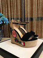 Wholesale Designer High Heel Women Shoe - 2017 new xummer sty brand designer high-end customrore weave heel high-heeled with slope cenuine leather women sandals fashion rose shoes