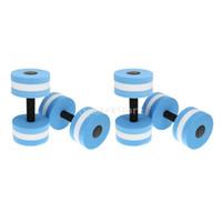 Wholesale fitness pools - Wholesale- 4pcs Blue Water Aerobics Dumbbell Aquatic Barbell Aqua Fitness Swimming Pool Exercise