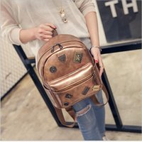 Wholesale Korean Book Bags - 2017 New Korean Fashion women students shoulder bag book bags backpack casual style Pu leather Zipper Vintage wholesale cheap price