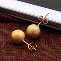 Wholesale Earring Backs Babies - Sky talent bao 10mm Women Fashion Natural Jewelry 24K Gold GF Earring Wedding New Ethiopian Round Stud Earrings For Baby Girls