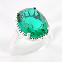 Wholesale sterling silver ring quartz - Mix Color 2pcs lot Wholesale Holiday Jewelry Gift Oval Green Quartz Gems 925 Sterling Silver Ring