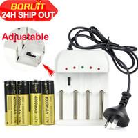 Hot selling 4 X BORUiT 18650 3.7V 4000mAh Rechargeable Li-ion Battery+US EU AU Plug i4 Charger For headlamp Flashlight Torch