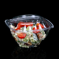 Wholesale Plastic Salad Containers - 15.5*8.5*8Cm Disposable Boxes Fruit Bowl Container Plastic Box Fresh Fruit Salad Bowls Vegie Box Transparent Black Color Wholesale