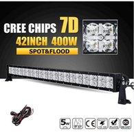 400W 42inch CREE Chips 7D LED offroad luce barra luminosa a colonna di luce Combo Led luce lavoro 12v 24V ATV camion SUV 4WD 4x4 Pickup