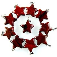 cuentas de estrella roja al por mayor-Qs63 10Pcs Red Jasper Star Pendant Bead Enviar aleatoriamente