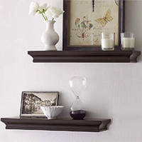 Wholesale Decorative Wood Shelves - Home & Office Fashion Furniture Decorative Wall Shelf Set Espresso Brown Finish of 2 PCS Magic Home Décor Shelves
