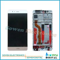 Wholesale Resistive Lcd Touch - Wholesale- for Huawei P9 EVA-L09 EVA-L19 EVA-AL00 LCD display Screen with Touch Screen digitizer with Frame bezel assembly full sets ,tools