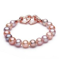Wholesale Natural Diamond Bracelet 14k - Hot sell 7-8mm pink purple mixed color natural pearl bracelet Inlaid diamond double heart Accessories SL120-189