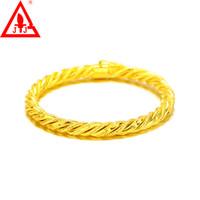 satılık sarı gelinlik toptan satış-24 K Sarı Altın Dolgulu Bilezik 6 MM Üst Kalite Yeni Stil Bakır Lüks Moda Takılar Güzel Takı Düğün Giyinmiş Sıcak Satış Ücretsiz kargo