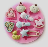 Wholesale cutter baby - 10PCS LOT,Baby love lollipop duck Fondant Cake Chocolate Cookies Sugarcraft Mold Cutter Silicone Mould Bake Tools DIY Hot Sale!