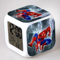 Wholesale Cartoons Alarm Clock - Spider Man LED Digital Alarm Clock 7 colors Colorful Desk Table Clocks Night Light Glowing Kids Spiderman Toy Students Cartoon Alarm Clock