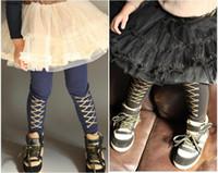 Wholesale Kids Leggings Print - Kids pants princes girl leggings kids cotton gold printed leggings blue black 2 colors 5 p l