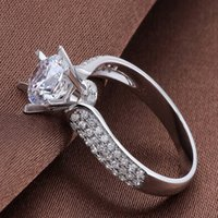 Wholesale Star Drill Rings - Charming 925 Sterling Silver Rings with Luxury Austria Crystal 3 Layer Platinum Plated The Bright Star Diamond Ring Bare Drill Jewelry Women