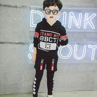 Wholesale Korean Hoodie Sweater Fashion - 2017 Korean Boys set Fashion Spring Autumn printing long sleeve Children Outfit Kids Sets Sweater Hoodie trousers casual pants Lovekiss A27