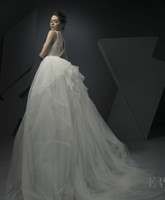 Wholesale Deep V Bead Cross Back - datchable ball gown tulle train lace bodice beaded wedding dresses 2018 Ersa Atelier bridal gowns deep v neckline chapel train