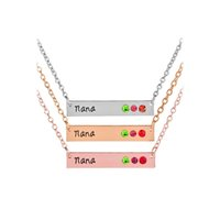 Wholesale gold birthstone jewelry - Crystal Mommy Mom Nana Birthstone Horizontal Bar Necklaces with silver rose gold Chain for Women Family Jewelry DROP SHIP 162225