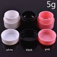Vente en gros - 5g Empty Plastic Nail Art Container Cosmetic Jar Petit Sample Cream Pot Nail Gel Powder Box Maquillage Tool Black White Pink