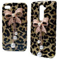 Bling Custodia Cover posteriore in oro leopardo perle Strass Bow rigida per iPhone 4S 5C Galaxy S3 i9500 S4 S5 S6 bordo Huawei Honor 7 P8 Lite P9 Lite