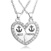 Wholesale Enamel Anchor Jewelry - Fashion Pendants Necklace BEST FRIENDS Enamel Anchor Rhinestone Heart Charms Necklace Jewelry Set For Friend Gifts