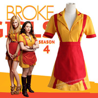 Wholesale Caroline Broke Girls - Max or Caroline cosplay costumes 2 Broke Girls TV series the same style clothing(dress+pinafore) Snack bar overalls