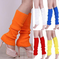 Atacado- Lovely Candy Color Knit Inverno Leg Warmers Knee High Boot Meias para mulheres