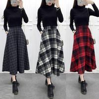 Wholesale Tartan Skirt Xl - High waist Plaid Skirt Women Long A-Line Woolen Plaid Skirts 2017 Autumn Winter Vintage Wool Tartan Umbrella Plaid Skirts