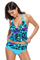 Wholesale Tankinis For Girls - Newest Hot Sale 2017 Swimming Suit For Girls Bluish Floral Print Macrame Tankini and Short Two Piece Swimsuit Women