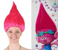 Wholesale Wig Accessories Supplies - Wholesale- Trolls Wig for Kids Pink Costume Cosplay Party Supplies Kids Hairs Kids Party Cosplay Wig