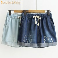 Wholesale Suspender Shorts Jeans Overalls - Wholesale- summer new funny female cats embroidery pattern loose denim jeans overalls women suspenders wide leg boots short jumpsuit