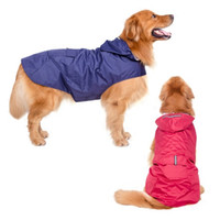 Wholesale Dog Coat Hooded Clothes - 2016 New Arrival Large Dog Raincoat Super Waterproof Hooded Rain Jacket Reflective Pet Clothes Golden Retriever Labrador 3XL-5XL
