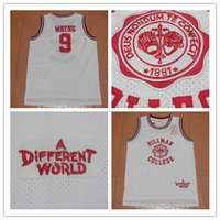 Wholesale Movies For Sales - 2017 Newest 9 WAYNE Hillman College Movie 1881 A Different World White College Jersey Retro Basketball Jerseys Stitched ON For Sale