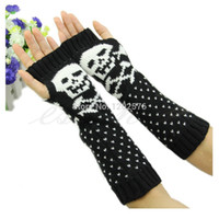 Wholesale Wholesale Skull Gloves - Wholesale- 1 PC Hot Women Skull Knitted Wrist Arm Long Fingerless Mitten Winter Gloves Soft Warm Christmas Gifts