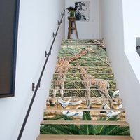 Wholesale Vinyl Stairs - Giraffe Geramic Tiles Stairway Wall Stickers Mural Stair Decal Natural Landscape Creative Corridor Floor Sticker Passageway Cove