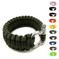 Wholesale Survival Bracelet U Clasp - Survival Bracelets Paracord Parachute Camping Bracelet Stainless Steel U Clasp Escape Life-saving Bracelet Wristband Hiking Outdoor Gear