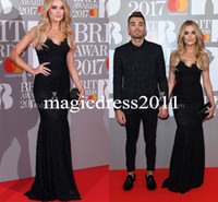 Trumpet/Mermaid special awards - Chloe Lloyd Elegant Slim Trumpet Black Lace Long Evening Prom Dresses Brit Awards Special Occasion Dress for Party Celebrity Gowns