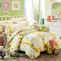 Wholesale Cheap Girls Beds - Girls kitty giraffe print bedding cotton kids bed linen online cheap bedding twins queen king size home textile bedding sale