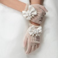 Wholesale Girls Wedding Gloves - New Girls Gloves Cream and White Lace Pearl Fishnet Communion Flower Girl Party and Wedding Gloves