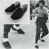 chinês algodão sapatos baixos venda por atacado-Bruce Lee chinês clássico chinelos kung fu apartamentos sapato Wing Chun artes marciais tai chi home indoor ao ar livre Handmade algodão sapatos