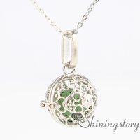 Wholesale Silver Aroma Pendant - heart ball metal volcanic stone essential oil necklace girls locket engravable lockets aroma pendants openwork necklaces