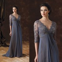 Wholesale Long Lace Quarter Sleeve Dress - Elegant V-Neck Mother of the Bride Dresses Chiffon Three Quarter Sleeves Appliques Beads Evening Party Gown 2017 Custom Made