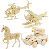 Wholesale 3d Insect Toys - Wholesale- 3d three-dimensional wooden animal jigsaw puzzle toys for children diy handmade wooden jigsaw puzzles Animals Insects Series