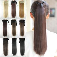 "Wholesale Clip Long Straight Ponytail - Wholesale-55cm 22"" Long Straight Hair Pieces Drawstring Ribbon Hairpiece Clip In Pony Tail Hair Extensions Fake Hair Ponytail"
