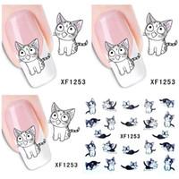 Wholesale Nail Art Cute Cartoon - 1 Aheet XF1253 Cartoon Watermark Water Transfer Design Lovely Cute Cat Tip Nail Art Sticker Nails Decal Manicure Tools