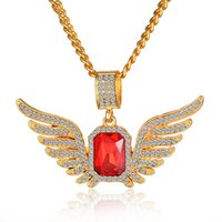 Wholesale Ruby Stone Necklace - 2017 Hip Hop Angel Wings with Big Red Stone Pendant Necklace Men Women Iced Out Jewelry Crystal Many Rhinestones Necklaces