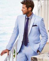 Wholesale Men Light Blue Suit Wedding - Newest Style Light Blue Men Wedding suits tuxedos simple Prom Dinner Suits Groom Tuxedos Handsome groomsman suits (Jacket+Pants)